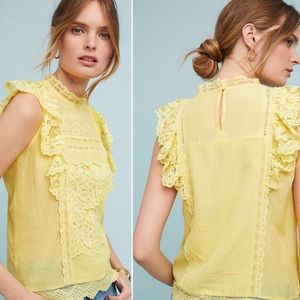 Maeve by Anthropologie Blouse Victoria Lace Yellow